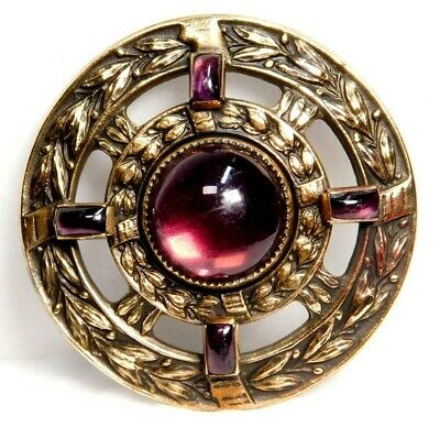Antique Vtg BUTTON Purple Amethyst Glass JEWEL in Ornate Brass LARGE Sz
