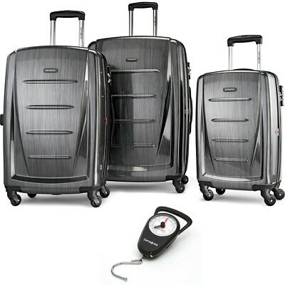 Samsonite Winfield 2 Hardside 3 Piece Spinner Set Charcoal with Luggage Scale
