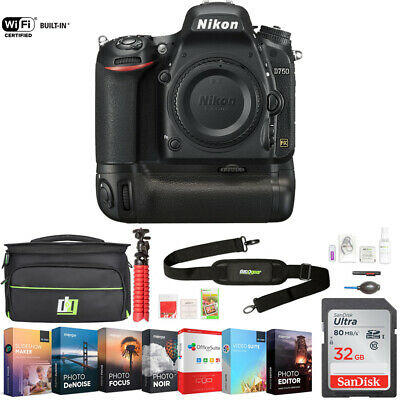 Nikon D750 DSLR 24.3MP HD FX-Format Digital Camera (Body) + 32GB Deluxe Bundle