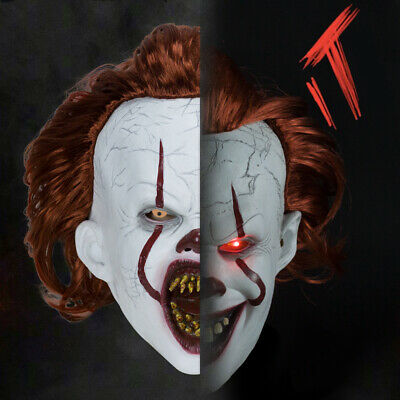 LED Pennywise Mask Stephen King/'s It Chapter Two 2 Cosplay Scary Joker Prop USA