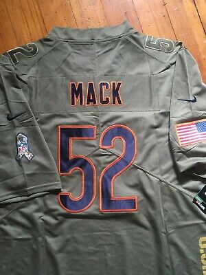 New Khalil Mack Chicago Bears Olive Salute To Service Stitched Mens  Jersey Xl