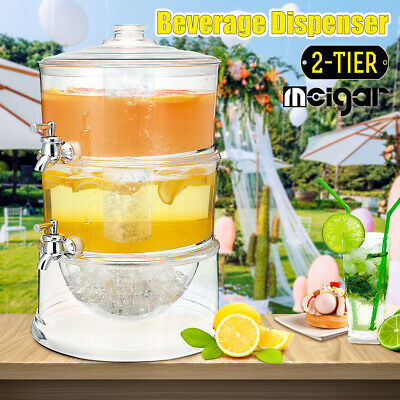 MEIGAR Juice Cold Drink Layer Dispenser Lemonade Beverage Cooler Holder W/ 2 Tap