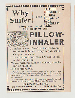 1896 Pillow Inhaler, Cure for Lung/Throat Troubles Ad, Quack Medicine