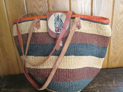 Woven Jute Market Tote Bag Bucket Boho Hippie Tote Leather Strap & Flap Vtg