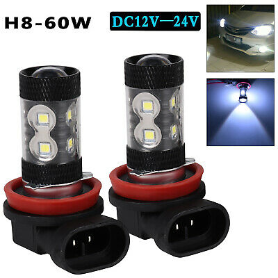2x H8 H11 6000K White 60W High Powers CREE Fog Light LED Drivings Bulbs DRL UK