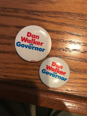 Lot of 2 Dan Walker for Governor  button pin Illinios Democrat