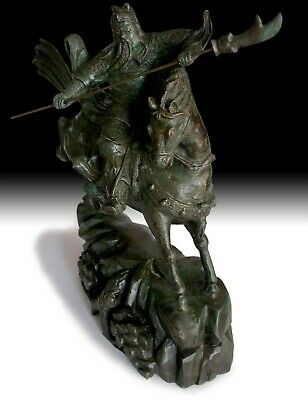 Antique Chinese Bronze Three Kingdoms God of War Guan Yu On Horse Statue 戰神關羽