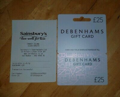 Debenhams £25 gift card