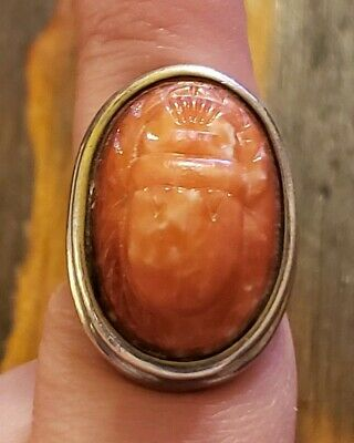 Vintage Egyptian 925 Silver Large Carved Pink Coral Scarab Ring Heavy Size 7.5