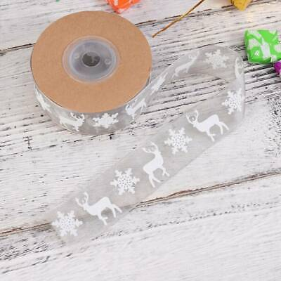 Wired White Glitter Snowflakes Sheer Christmas Ribbon. Xmas Tree Glittery Wreath