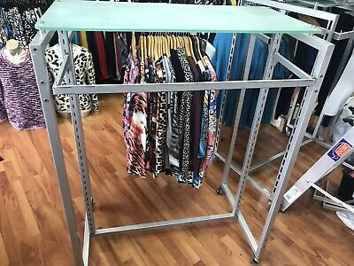 Rectangle Rack Shop Clothes  Clothing Stand Silver Used