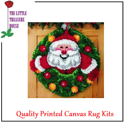 Santa Xmas Printed Canvas Latch Hook Rug Kit - Everything included