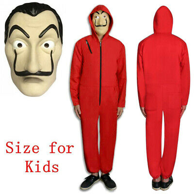 FR Kids Salvador Dali La Casa De Papel Money Heist Jumpsuit Mask Costume Cosplay