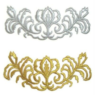 Silver / Gold Applique Trim Iron-on Embroidery for Tutu Dance Stage Costume #120