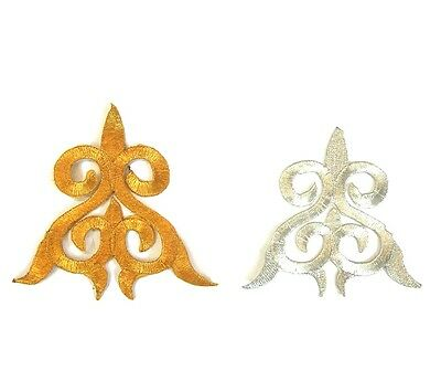 Silver Gold Applique Iron On Embroidery Trim for Dance Stage Ballet Costume #81