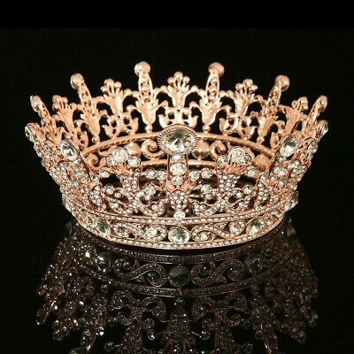 Crystal Tiaras Crown Rhinestone Rose Gold Plated Clear Round Wedding Party