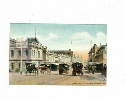 Australia Postcard, Queen St BRISBANE from Wharf Street  Qld