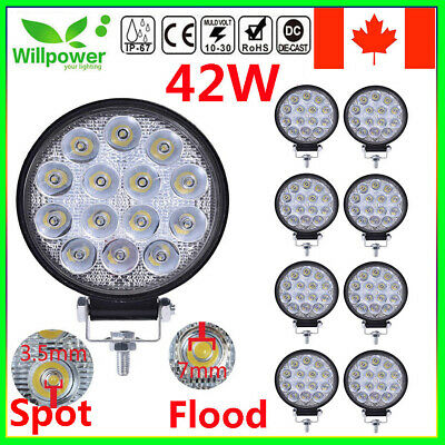 4inch 42W Round Led Work Light Bar Flood /Spot for JeepTruck Offroad SUV Car 4WD