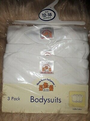 Pack Of 3 White Baby Vests 100% Cotton 12-18 Months