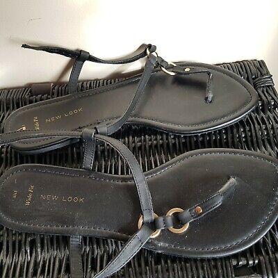 Girls Ladies Black New Look Sandals Size 8 Wide Fit