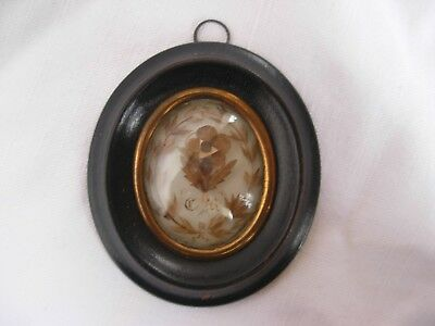 SUPERB ANTIQUE FRENCH FRAMED MOURNING HAIRWORK, 19th CENTURY