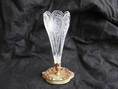 ANTIQUE FRENCH ENAMELED GILT BRONZE ETCHED CRYSTAL,EPERGNE,LATE 19th .