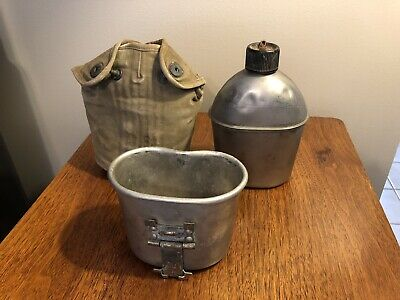 Vintage Wwii Us Army Military Gp & F Co. Canteen & Insulated Bag Marked 1943