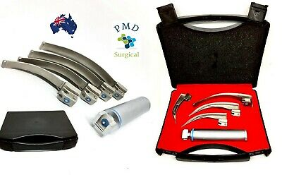 Fiber Optic Macintosh Laryngoscope Set, 4 Blades, MedicaI Diagnostic Instrument