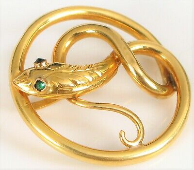 Antique 18K Yellow Gold Victorian Snake Pendant Green Emerald Eyes 2 Grams Fine