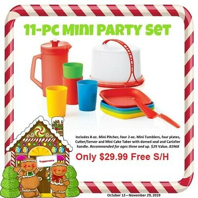 Ne Tupperware Kid's 11 pc Mini Party Set Cake Taker Plates Cups Pitcher Free S/H
