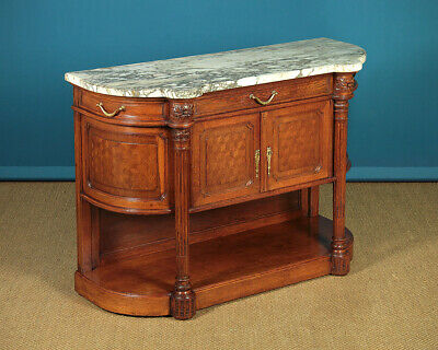 Small Antique Oak & Marble Top Sideboard c.1910.