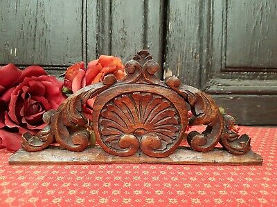 Striking Small Antique French Hand Carved Oak Crest -  C1900