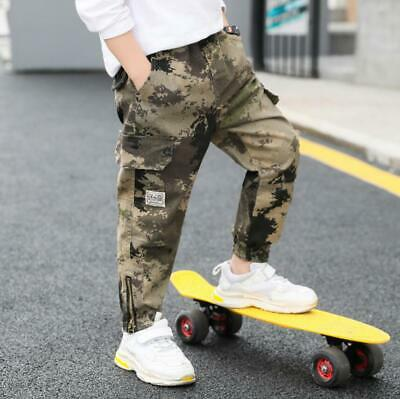 Kids Boys Camo Military Army outdoor cargo Casual Harem Sports pants trousers