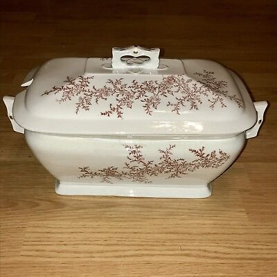 Antique Brown Transfer Ware Soup Tureen Serving Piece Ironstone Victorian