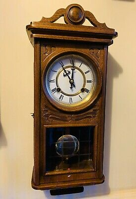 Charming Late 20thC Oak Cased Wall Clock