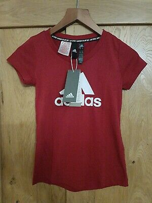 Adidas Junior/Girl Performance Logo T-Shirt. maroon/white age 7-8 years BNWT