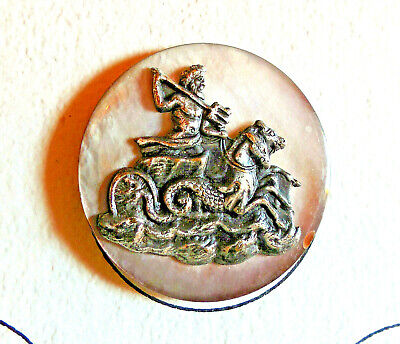 """Vintage MOP Shell Button with applied Escutcheon (G) NEPTUNE Large 1 3/8"""""""