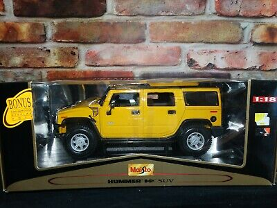 Maisto Hummer H2 SUV 1:18 Scale Diecast Model Truck Yellow