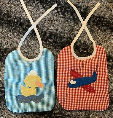 Handmade Vintage Boys Multicolored Plaid Duck Airplane Embroidered Bib Set