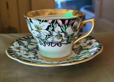 RARE Vintage Rosina Bone China England Tea Cup & Saucer SET Floral Lily LOOK NR