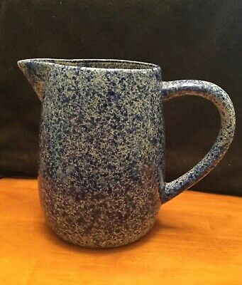 Stoneware  Pitcher  with sponge blue pattern *Really Pretty *