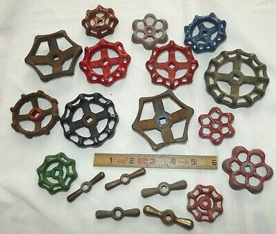 Vintage Mixed LOT of 19 WATER VALVE FAUCET HANDLES INDUSTRIAL KNOBS Steampunk