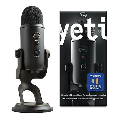 Blue Yeti Blackout Professional Omnidirectional USB Microphone with Stand, Black