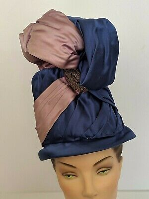 PARAMOUNT STUDIOS Vtg Turban Hat Costume Blue Purple Rhinestone Hollywood 50s