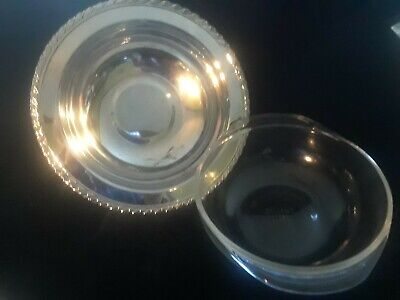 Oneida Silverplated Covered Dish/ Pyrex Insert Scroll Floral Vintage Design