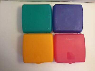 Tupperware Set of 4 Sandwich Hinged Lunch Keepers /Craft Storage Assorted Colors