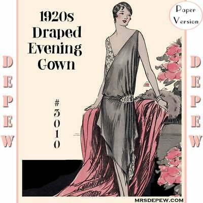 Vintage Sewing Pattern Instructions 1920s Flapper Easy Draped Evening Gown 3010