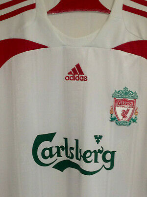 Liverpool FC, Adidas, Away Shirt 2007, White, size XXXL, Pit to Pit 27 inches