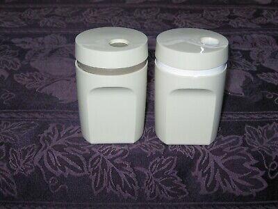 Vtg Tupperware Salt & Pepper Shaker Set With Twist Top Lids Almond Great/Camping