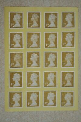 100 Gold Unfranked 1st First Class Security Stamps - Peel and Stick - Gummed
